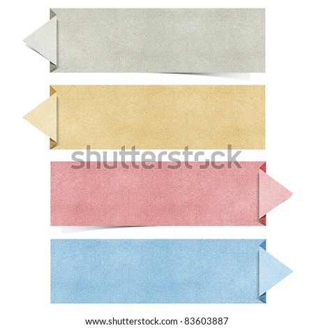origami recycled papercraft on white background - stock photo