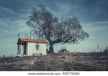 Original Landscape,Chapel of St. Cyprian, Plana Bulgaria Vintage look - stock photo