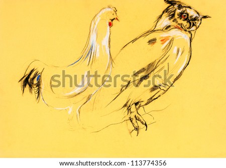 Original pastel and  hand drawn painting or  working  sketch of owl  (Bubo Virginianus Subarcticus) and rooster.Free composition - stock photo