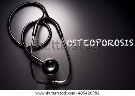 """""""Osteoporosis"""" word with stethoscope on background - health concept. Medical conceptual - stock photo"""