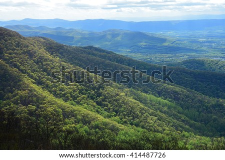 overlooking the shenandoah valley and hills in springtime in  shenandoah national park, virginia        - stock photo