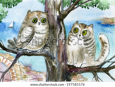 Owl and cat  - stock photo