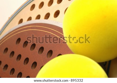 paddles old new and balls detail - stock photo