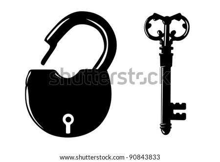 padlock silhouette on white background - stock photo