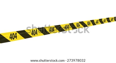 404: Page Not Found Tape Line at Angle - stock photo