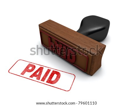 """""""PAID"""" Rubber stamp on a white background with the word """"PAID"""" stamped in red - stock photo"""