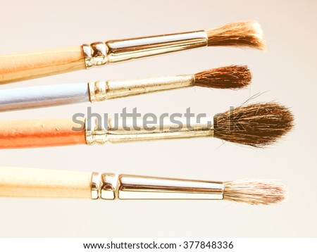 Paintbrushes tools for oil or tempera or watercolor painting vintage - stock photo