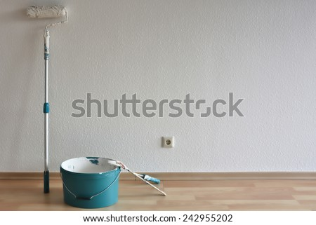painting tools after the work is done - stock photo