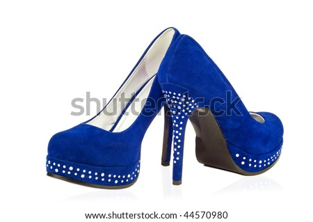 pair of blue high heeled shoes - stock photo