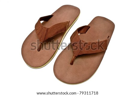 Pair of brown men's flip flop sandals isolated on white - stock photo