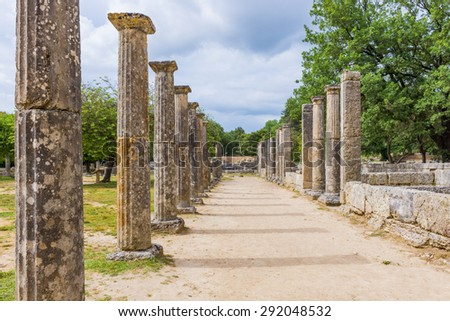 Palaistra (wrestling grounds), ruins of the ancient city of Olympia (Greece) - stock photo