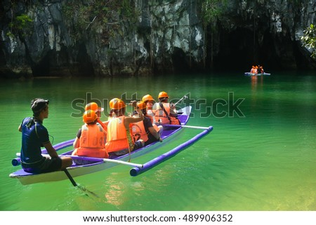 PALAWAN PHILIPPINES FEBRAURY 11 2016, Boats at cave entrance of Puerto Princesa subterranean underground river - One of the 7 New Wonders of Nature