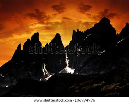 Pale di San Martino, Dolomites - Italy - stock photo