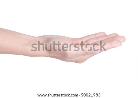 Palm of a man on a white background