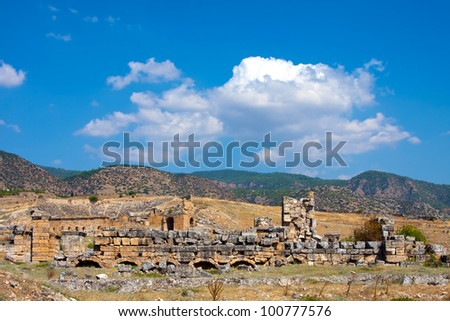 Pamukkale. Turkey. Ruins of Hierapolis, ancient city