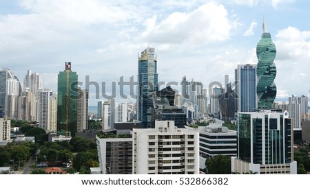 PANAMA CITY-PANAMA-DEC 8, 2016: View of the modern skyline of Panama City with all its high rise towers in the heart of downtown