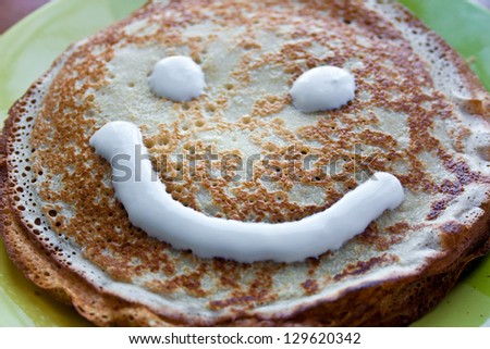 pancakes with sour on pancake week - stock photo