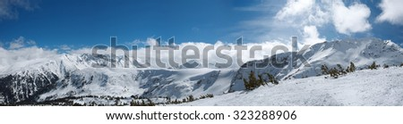 Panorama of winter mountains. Alpine ski resort Bansko, Bulgaria