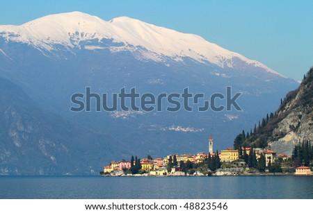Panoramic view of como lake, Italy - stock photo