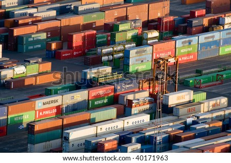 Panoramic view of containers in a harbour of Barcelona - stock photo