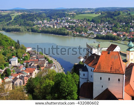 panoramic view of danube river in        Passau, germany  - stock photo