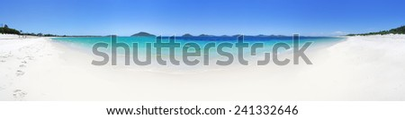 180 panoramic views of Port Stephens from idyllic  Jimmy's Beach with distant views to Yacaaba, Mt Tomaree, Stephens Peak, Shoal Bay and Nelson Bay - stock photo