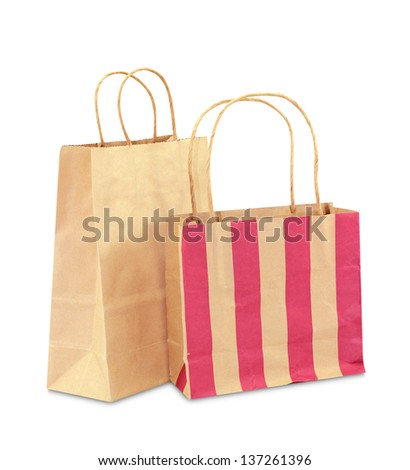 paper bag isolated on white background - stock photo