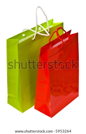 2 paper bags isolated on the white background - stock photo