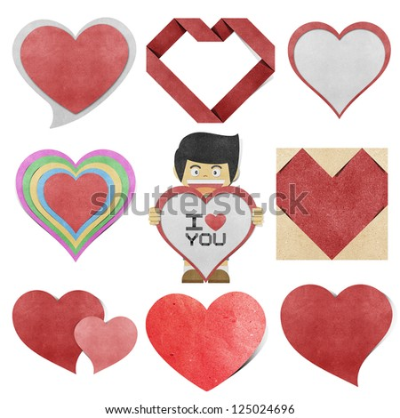 Paper boy and red heart  recycled papercraft - stock photo