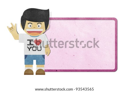 Paper boy with i love you alphabet on note recycled papercraft - stock photo