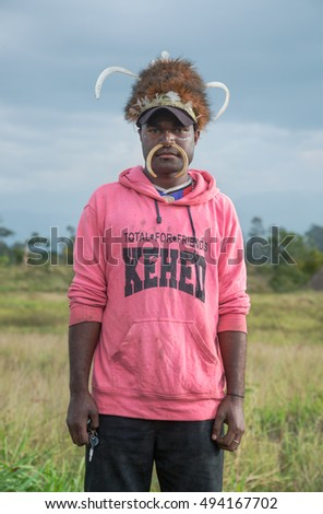 07082015 papua baliem valley tradition modernity stock photo