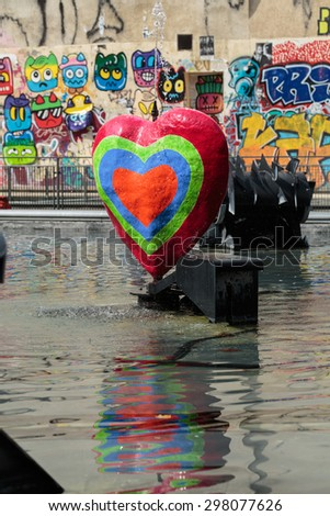 PARIS, FRANCE - SEPTEMBER 11, 2014: Stravinsky Fountain in Paris near the Arts Centre Pompidou