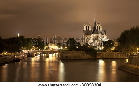 Paris - Notre-Dame cathedral in night - stock photo
