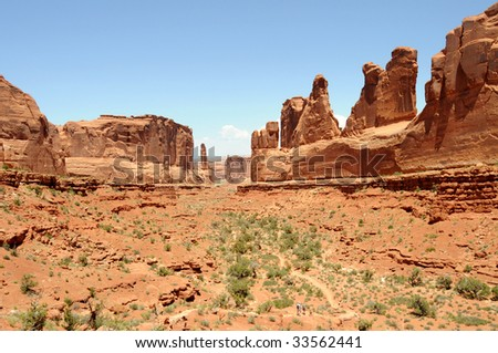 """Park Avenue"" rock formations in the Arches National Park near Moab, Utah, USA."