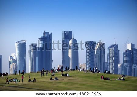Park  in Central Doha, Qatar - stock photo