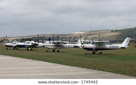 4 Parked Aircraft - stock photo