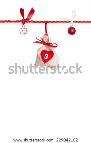 #3 - part of Advent calendar isolated on white background  - stock photo