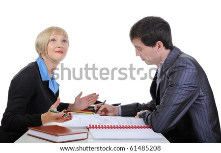 partners at the negotiating table in the office. Isolated on white background - stock photo