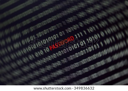 'Password' text in the middle of the computer screen full of ones and zeros. A spin blur effect is applied to the image to emphasize the password word. - stock photo