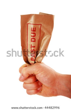 'PAST DUE' envelope being crushed by hand isolated on white