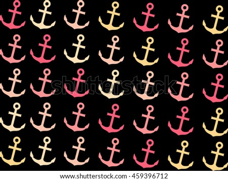 pattern with anchors - stock photo