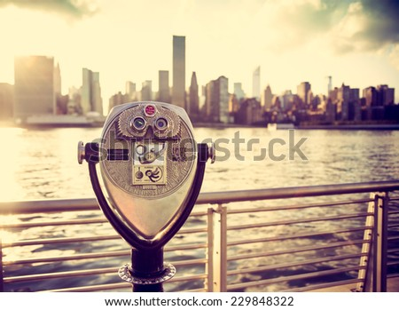 Pay binoculars. Vintage high key travel concept. New York City - stock photo