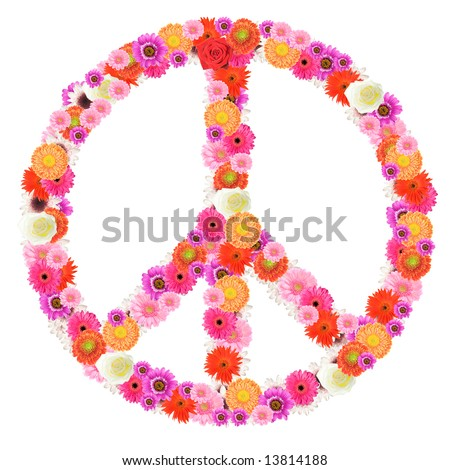 peace sign made of beautiful, colorful flowers on white background. - stock photo