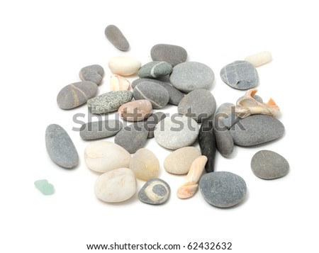 Pebbles And Shells Isolated on White Background - stock photo