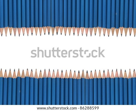 Pencil frame isolated on white background - stock photo
