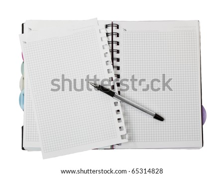 pencil on open white paper note book top view