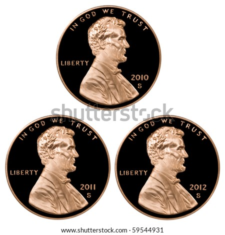 2010 2011 2012 Pennies - stock photo