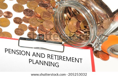 Pension and retirement planning concept with jar of money - stock photo
