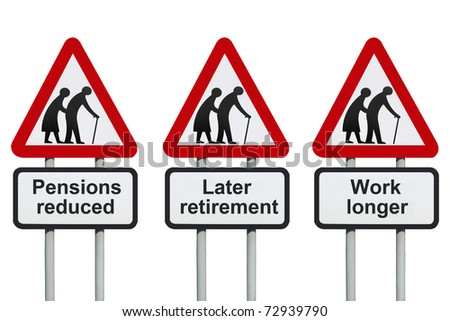 Pensions reduced warning road sign - stock photo