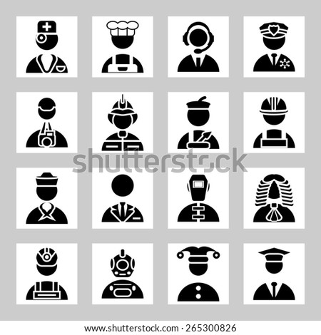 people and professions icons set - stock photo